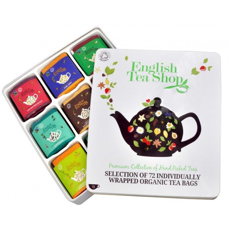 English Tea Shop Dárková plechová kazeta - luxusní čaje BIO, 72 sáčků/9 příchutí