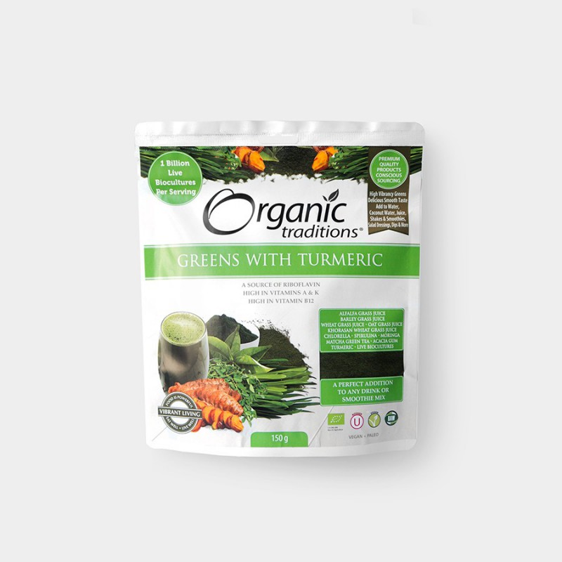 Organic India Super Greens s kurkumou 100 g