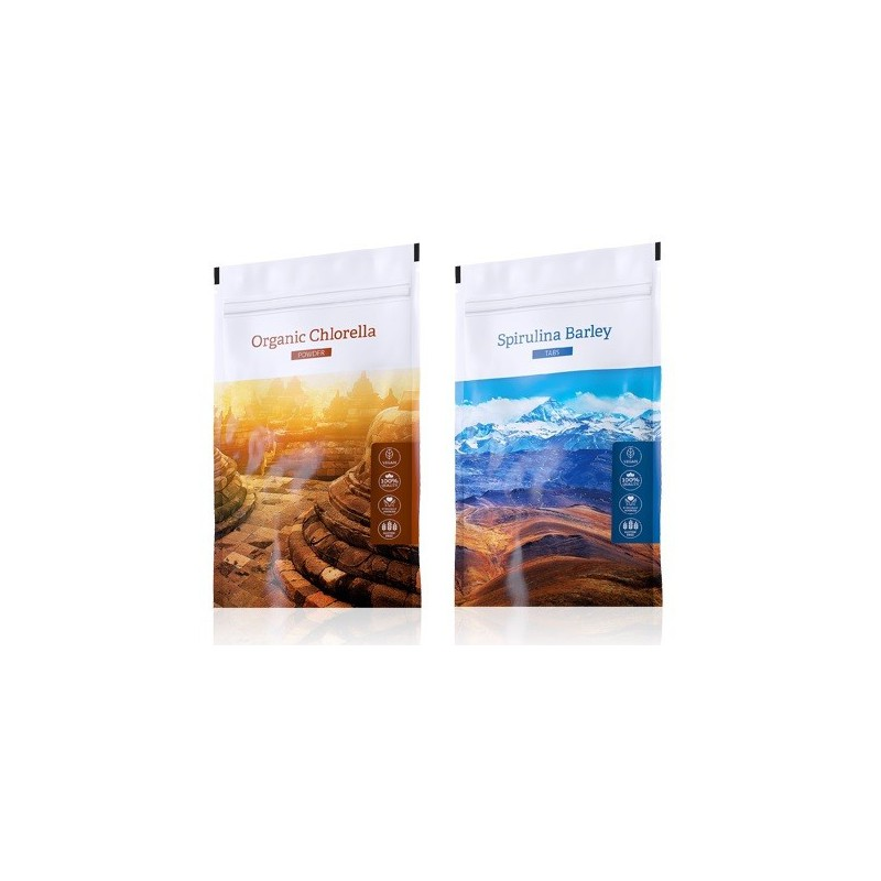 Energy Energy Spirulina Barley tabs 200 tbl. plus Organic Chlorella powder 100 g