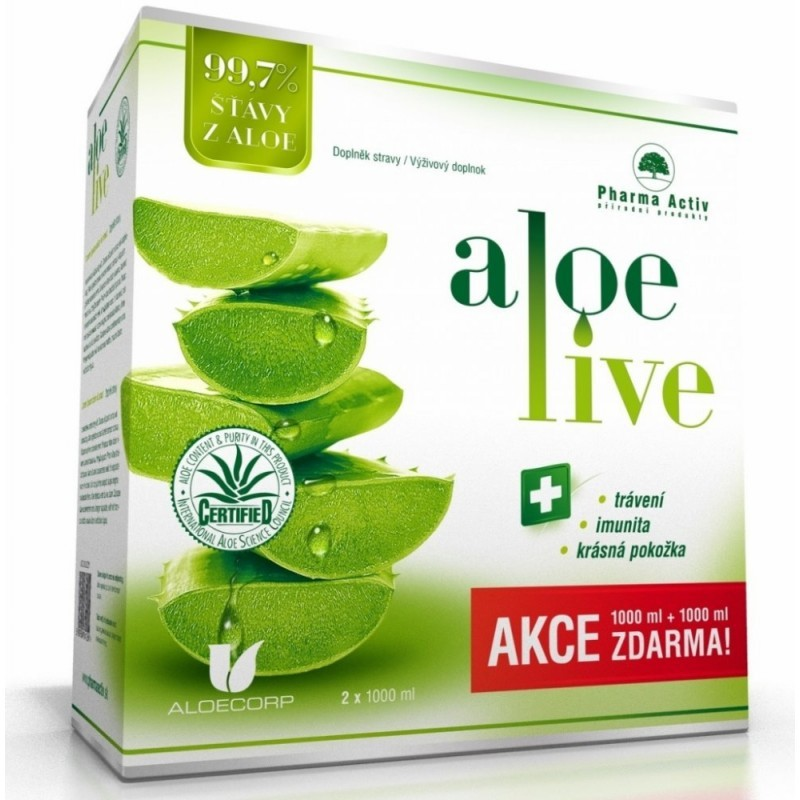 Pharma Activ Pharma Activ Aloe Live šťava z aloe vera 99,7procent 2 x 1000ml
