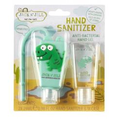 Jack n' Jill Antibakteriální gel na ruce pro děti - dino 2 x 29 ml + pouzdro