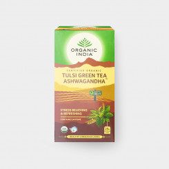Organic India Tulsi se zeleným čajem a ašvagandou BIO 25 sáčků