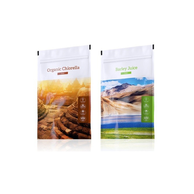 Chlorella tablety + Barley Juice tablety